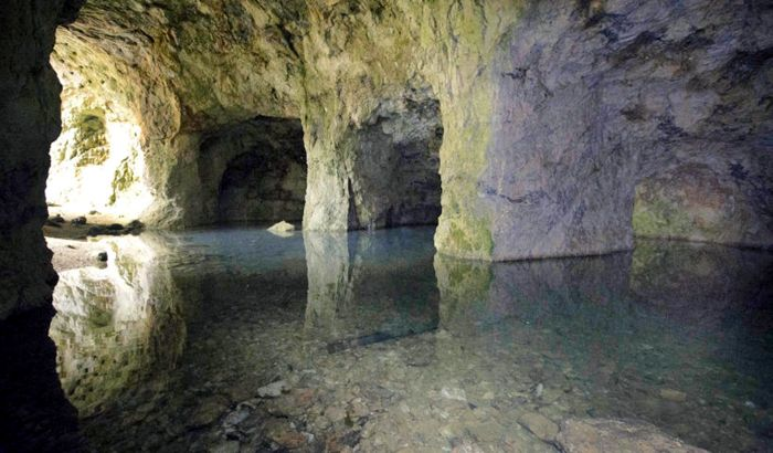Many of the caverns of the Ruggles Mine are flooded with water today. Photo courtesy Boston.com