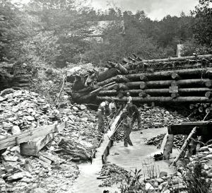 Sluicing operation near Plymouth, Vermont by E.G. Davis, Plymouth Historical Society