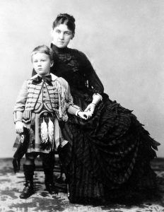 Franklin Roosevelt with his mother Sara in 1887.