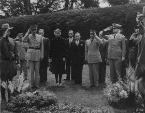 Franklin Roosevelt's burial at his estate in Hyde Park, New York.