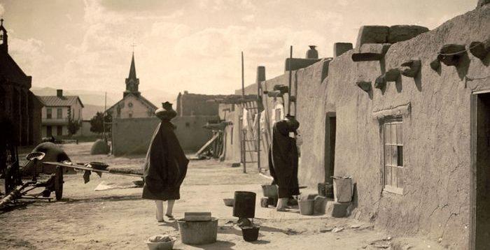 Ohkay Owingeh Pueblo, New Mexico by Edward S. Curtis, 1927.