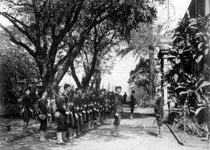 USS Boston's landing force on duty at the Arlington Hotel, Honolulu, 1893