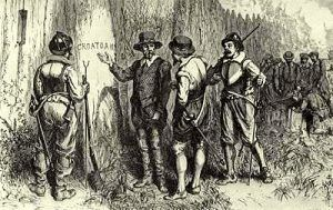 Discovery of the word Croatoan at the vanished colony of Roanoke, North Carolina