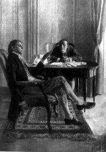 Benjamin Franklin and Richard Oswald discussing the Treaty of Paris