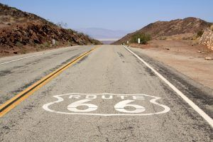 Route 66 over Cadiz Summit, California by Jim Hinkley