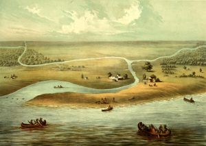 Chicago, Illinois in 1820, by Chicago Lithograph