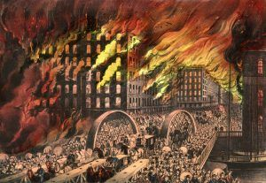 Chicago Fire, 1871 by Currier & Ives