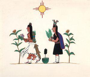 Zia Corn Dancers by Telesfor Gachupin, 1947