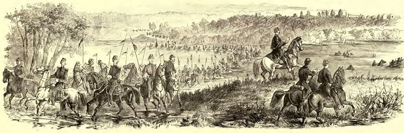 Fording of the Osage River at Warsaw, by General Fremont, October, 1861. Frank Leslie's illustrated history of the Civil War, 1895.