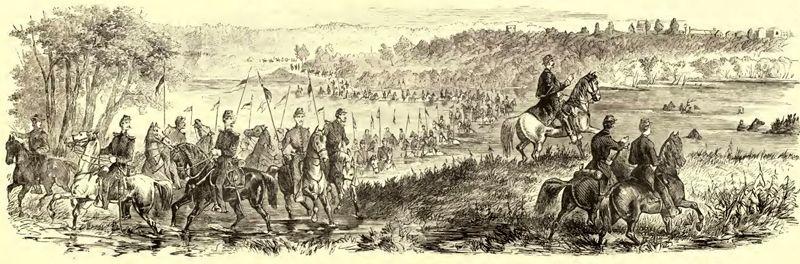 Fording of the Osage River at Warsaw, by General Fremont, October, 1861. Frank Leslie's illustrated history of the Civil War, 1895.