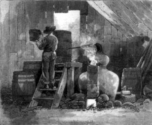 Moonshiner making alcohol in a still in North Carolina