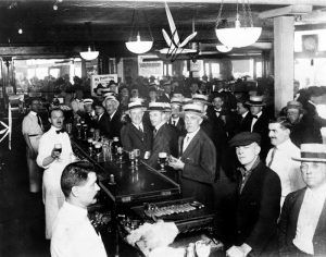 Interior of a crowded bar just moments before midnight, June 30, 1919, when wartime prohibition went into effect New York City
