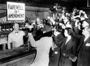 Customers at a bar celebrate the end of Prohibition, 1933.