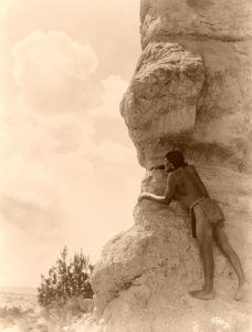 The Sentinel, San Ildefonso Pueblo, New Mexico by Edward S. Curtis, 1927.
