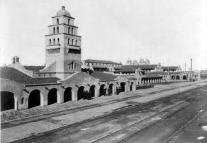 Santa Fe Railroad Station, Albuquerque, New Mexico, 1903.