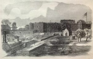 Arrival of 2000 Prisoners at Fort Delaware by D. Auld.