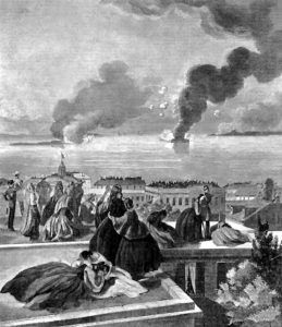 Fort Sumter, South Carolina is bombed by the Confederates while the people of Charleston look on.