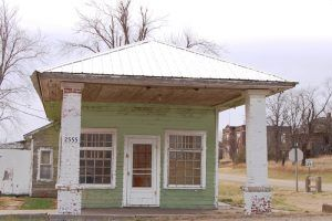 An old gas station in Carneiro, Kansas by Kathy Weiser-Alexander.
