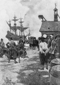 Dutch ship landing in Virginia with African Americans in 1619.
