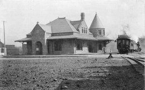 Atchison, Topeka, & Santa Fe Railroad Depot at Leavenworth, Kansas.