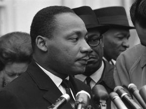 Martin Luther King, Jr. at the White House, by Warren K. Leffler, 1963.
