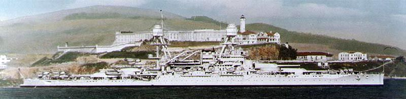 USS Oklahoma passing Alcatraz in San Francisco Bay, California