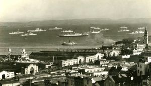 U.S. Pacific Fleet anchored off San Francisco, California, 1930s
