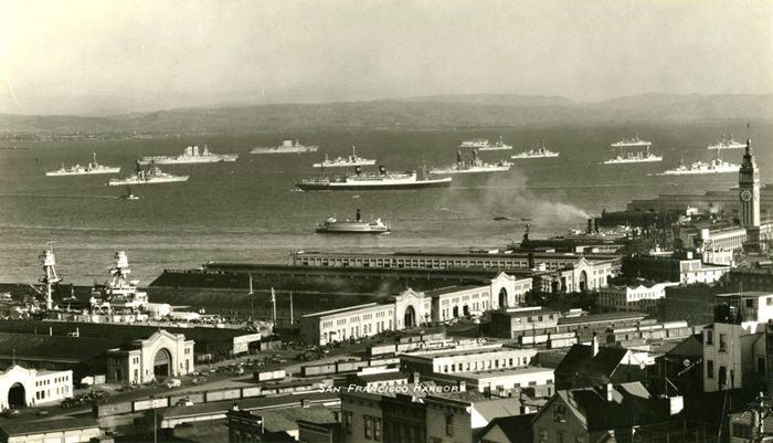 U.S. Pacific Fleet anchored off San Francisco, California, 1930s