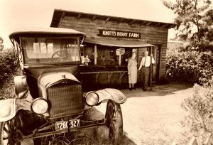Walter and Cordelia Knott in front of their a ca. 1920's berry stand at Knott's Berry Farm in Buena Park, California.