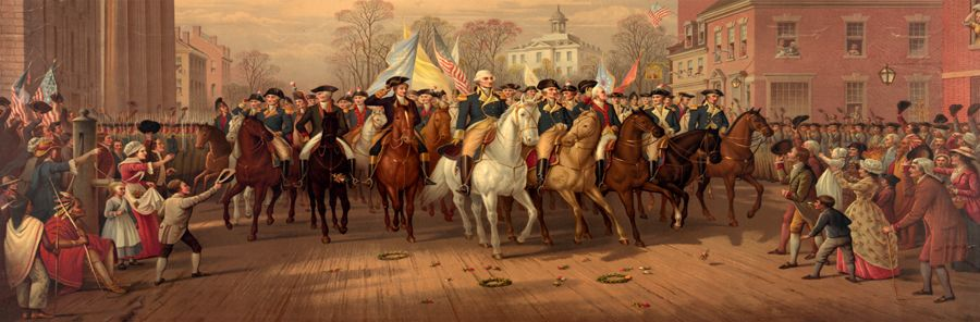 George Washington's triumphal entry into New York City, November 25, 1783 by Edmund & Ludwig Resteing, 1879