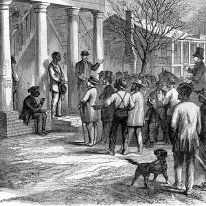 Free black man being sold to pay his fine, in Monticello, Florida, 1867.