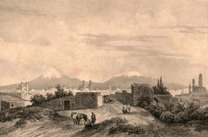 Los Angeles, California Pueblo by Carl Nebel in about 1840.