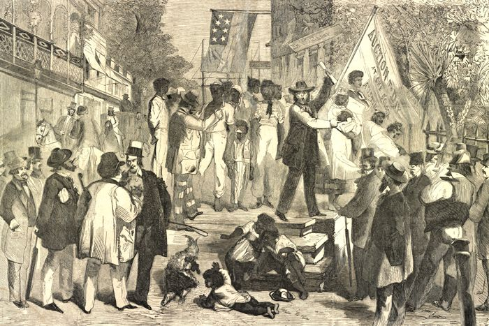 Slave auction in the South by Theodore R. Davis, 1861.