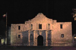The Alamo at night, San Antonio, Texas by Kathy Weiser-Alexander.