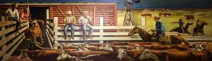 Cattle Loading in Amarillo, Texas Mural by Julius Woeltz in the U.S. Federal Building.