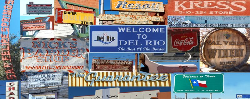 Del Rio, Texas Signs Collage by Kathy Weiser-Alexander.