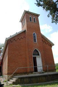 The historic Catholic Church still stands in Doniphan, Kansas today by Kathy Weiser-Alexander.