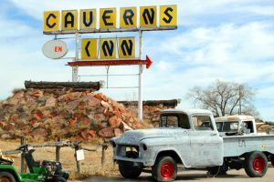 Grand Canyon Caverns, Arizona Sign and old truck, by Kathy Weiser-Alexander.