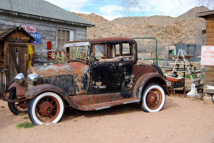 An old car at the Hackberry Store in Arizona, by Kathy Weiser-Alexander.