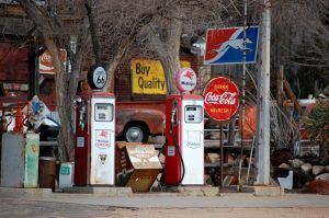 Gas Pumps at the Hackberry Store by Kathy Weiser-Alexander.