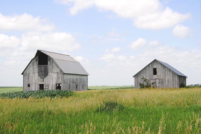 Barns near Huron, Kansas in Atchison County by Kathy Weiser-Alexander.