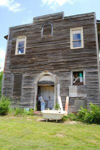 An old building in Huron, Kansas today by Kathy Weiser-Alexander.