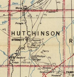 Hutchinson County, Texas Postal Map 1948.