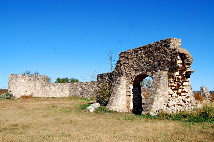 The remains of the 1757 Presidio de San Saba in Menard, Texas by Kathy Weiser-Alexander.