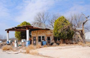 An old gas station in Roosevelt, Texas by Kathy Weiser-Alexander.