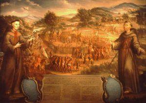 Destruction of the San Saba Mission by Jose de Paez, 1765.