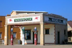 Old Magnolia gas station in Shamrock, Texas by Kathy Weiser-Alexander.