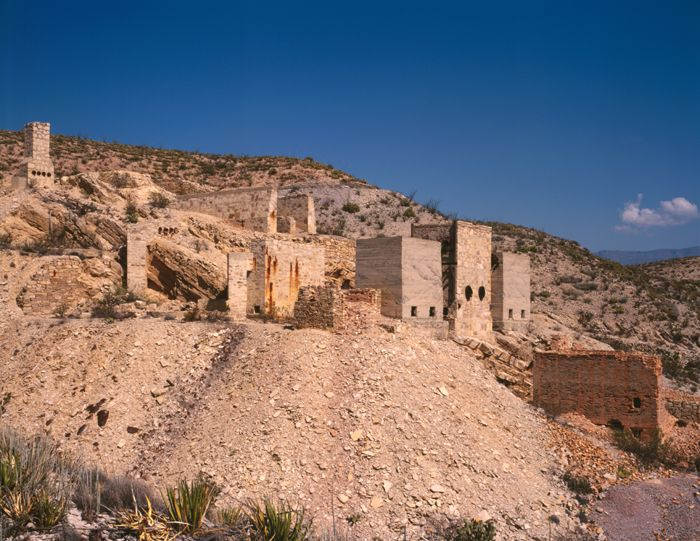 Ruins of the Mariscal Quicksilver Mine & Reduction Works in Terlingua, Texas by Bruce Harms, 1997.