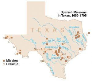 Spanish Missions in Texas Map, courtesy National Park Service.