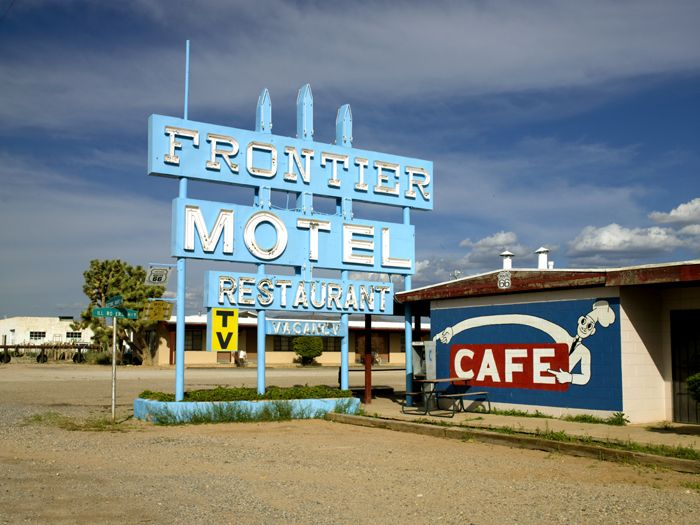 The Frontier Motel in Truxton, Arizona is still open today. Photo by Kathy Weiser-Alexander.